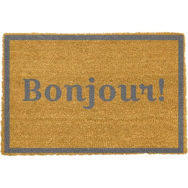 Covoraș intrare din fibre de cocos Artsy Doormats Bonjour Grey, 40 x 60 cm