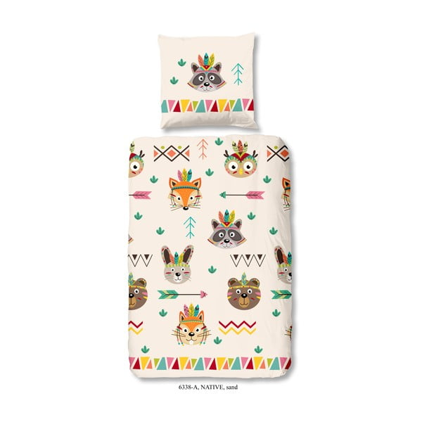 Lenjerie de pat din bumbac pentru copii Good Morning Native, 140 x 200 cm