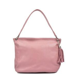 Růžová kožená kabelka Anna Luchini Tote