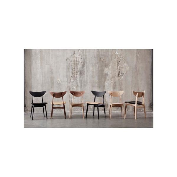 Sada 2 černých jídelních židlí z masivního ořechového dřeva WOOD AND VISION Chief