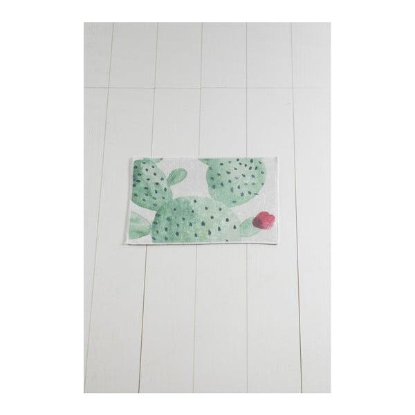 Tropica Cactus II fehér-zöld fürdőszobai kilépő, 60 x 40 cm