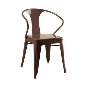 Kovová židle, hnědá
