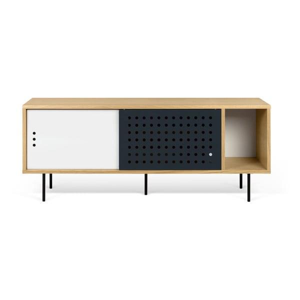 Dann Dots tölgyfamintás TV-állvány fekete-fehér részletekkel, hosszúság 165 cm - TemaHome