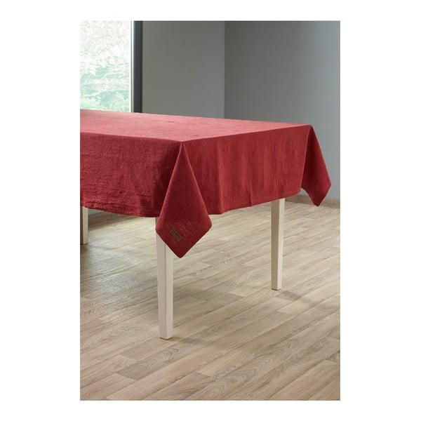 Bordowy obrus z domieszką lnu Tiseco Home Studio, 135x240 cm