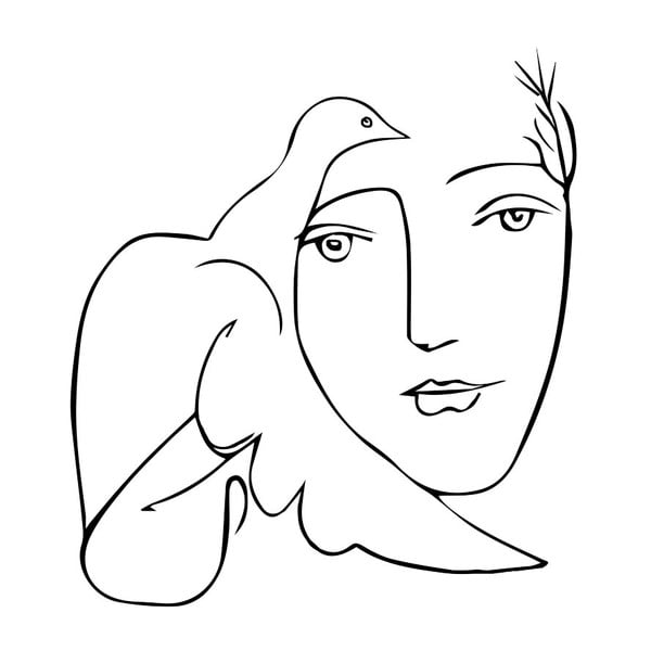 Poster Blue-Shaker Line Drawing Picasso, 30 x 40 cm