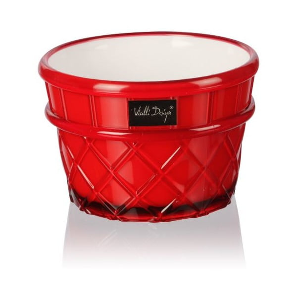 Červený pohár na dezert Vialli Design Livio, 266 ml