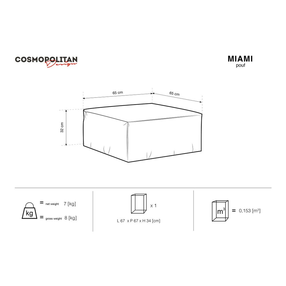 Produktové foto Světle šedý puf Cosmopolitan Design Miami, 65 x 65 cm