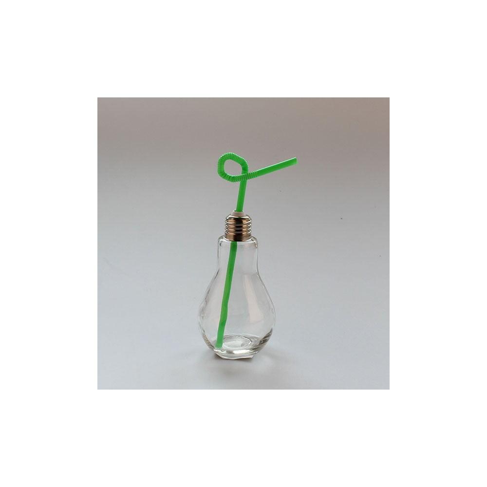 Sklenice se zeleným brčkem Dakls, 250ml