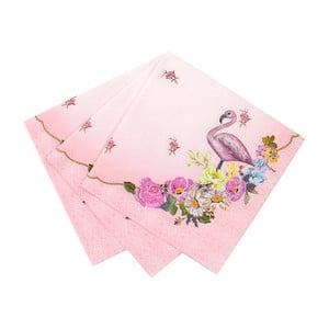 Sada 20 papírových ubrousků Talking Tables Flamingo