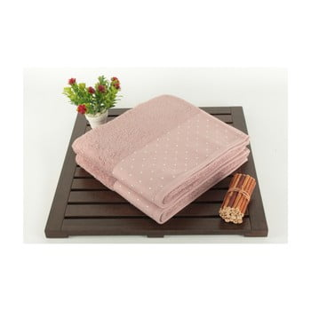 Set 2 prosoape din bumbac Patricia Dusty Rose, 50 x 90 cm, roz pudră