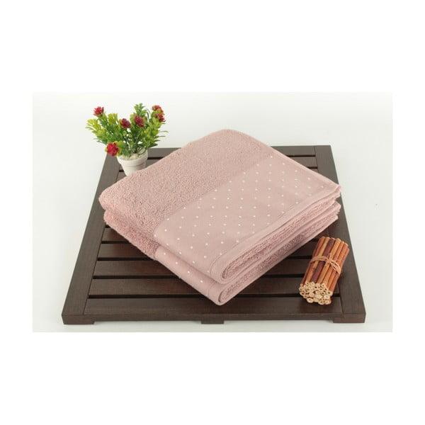 Sada 2 púdrovoružových bavlnených uterákov Patricia, 50 x 90 cm