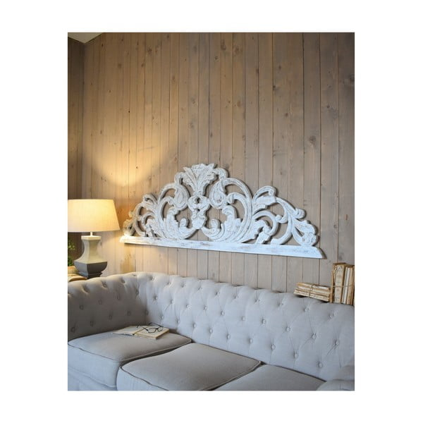 Decorațiune de perete din lemn de mango Orchidea Milano Testata Antique, lungime 180 cm, alb