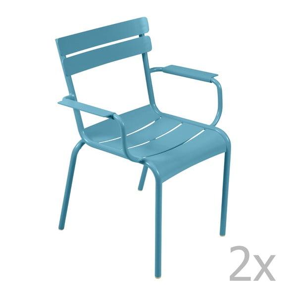 Sada 2 tyrkysových židlí s područkami Fermob Luxembourg