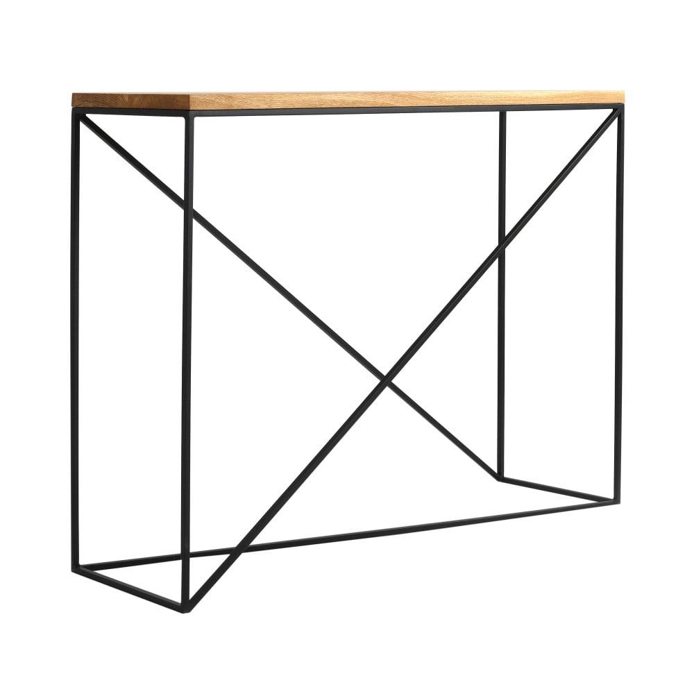 Konzolový stolek s černou konstrukcí a deskou z masivního dubového dřeva Custom Form Memo, délka 100 cm