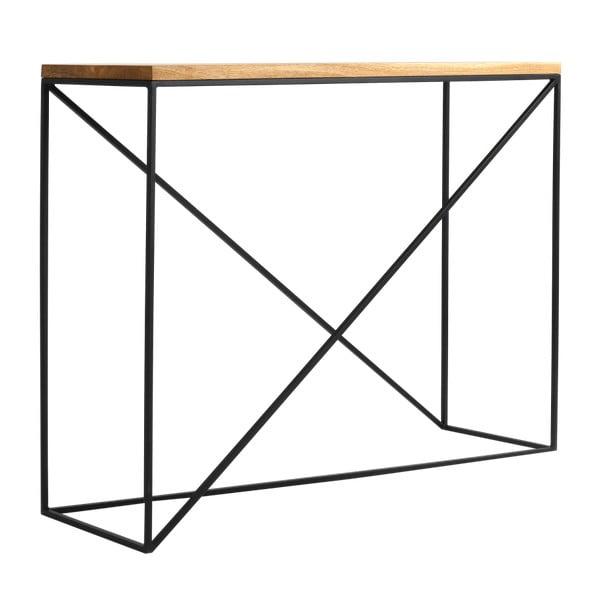 Memo konzolasztal fekete konstrukcióval és tölgyfa dekorral, szélesség 100 cm - Custom Form