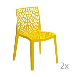 Sada 2 žlutých jídelních židlí Castagnetti Apollonia