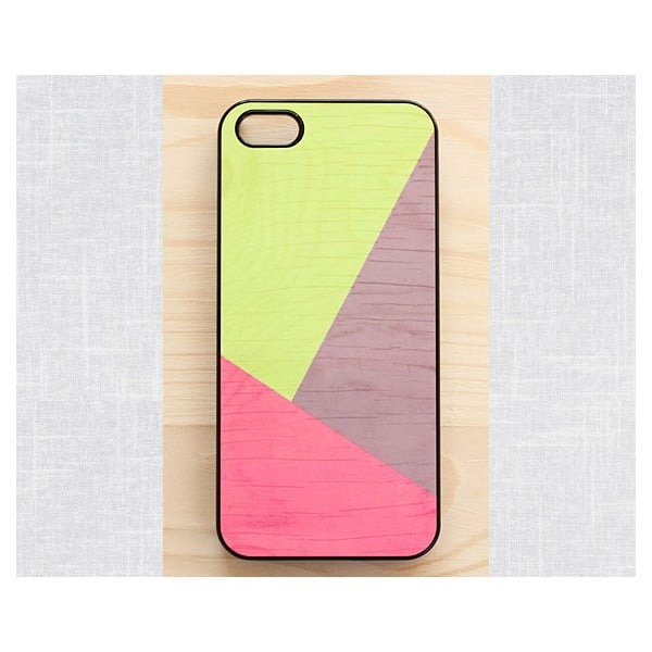 Obal na iPhone 5, Vibran neon geometric wood/black