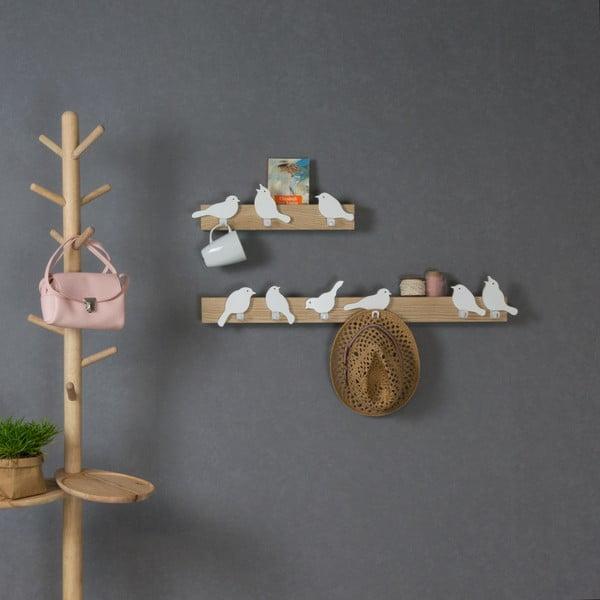 Cuier de perete cu 3 cârlige Furniteam Bird, maro - alb
