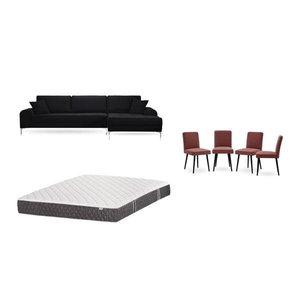 Set canapea neagră cu șezlong pe partea dreaptă, 4 scaune roșu cărămiziu și saltea 160 x 200 cm Home Essentials
