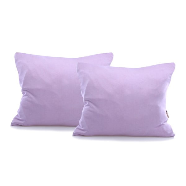 Sada 2 fialových bavlnených obliečok na vankúše DecoKing Amber Violet, 50 x 60 cm