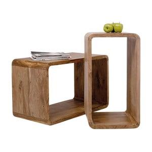 Set 2 rafturi din lemn sheesham Kare Design Cuben Rectangular