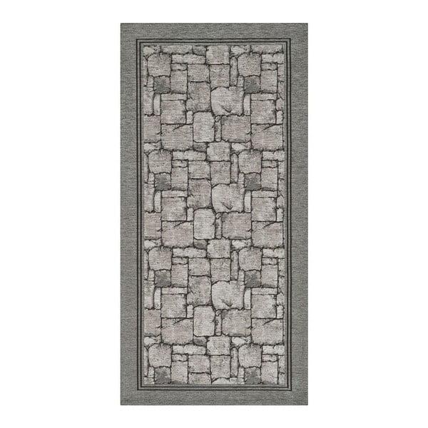 Šedý běhoun Floorita Wall, 55 x 140 cm