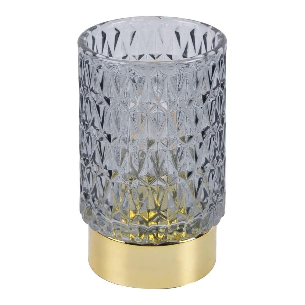 Šedá LED skleněná stolní lampa PT LIVING Diamond