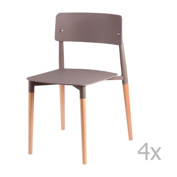Set 4 scaune cu picioare din lemn sømcasa Claire, gri