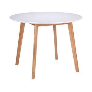 Masă cu picioare din lemn de arbore de cauciuc sømcasa Monna, ⌀ 100 cm, alb