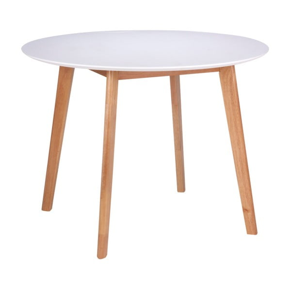 Marta fehér étkezőasztal kaucsukfa lábakkal, ⌀ 100 cm - sømcasa