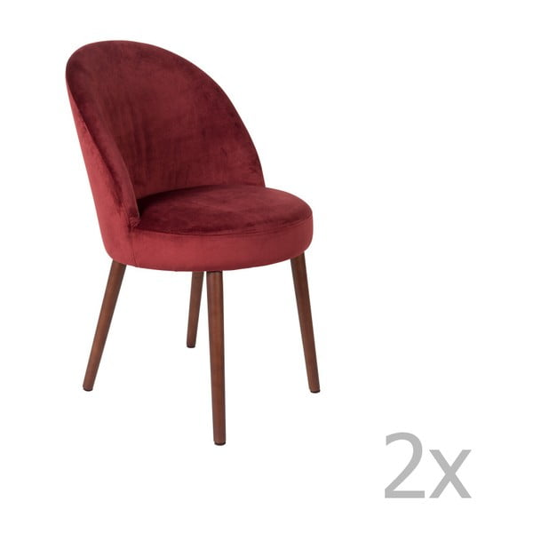 Sada 2 červených židlí Dutchbone Barbara
