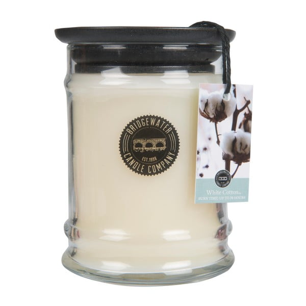 Svíčka s vůní ve skleněné dóze s vůní bavlny Bridgewater candle Company, doba hoření 65 - 85 hodin