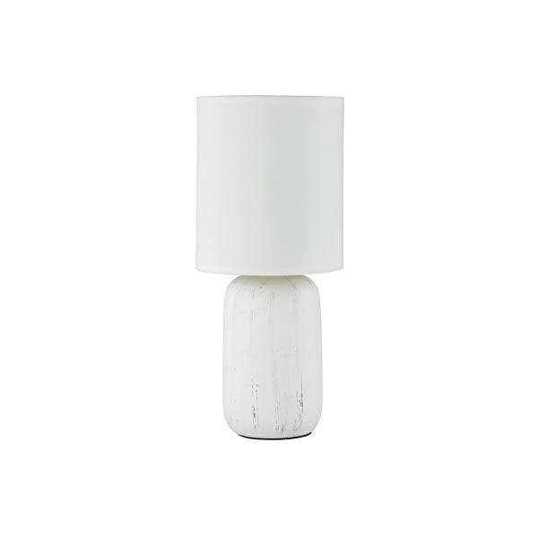 Bílá stolní lampa z keramiky a tkaniny Trio Clay, výška 35 cm