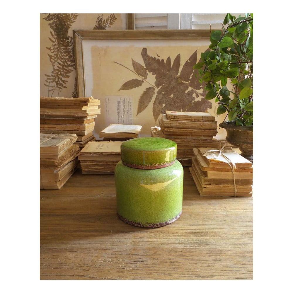 Zelená keramická nádoba s víkem Orchidea Milano, výška 16 cm