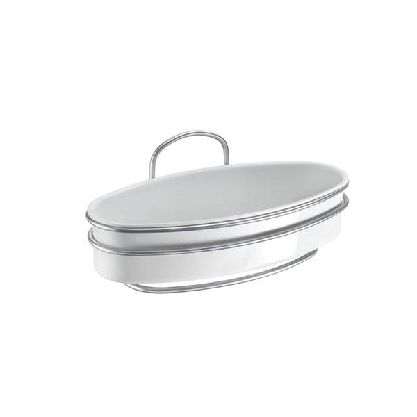 White ovális fürdőszobai polc, hosszúság 26 cm - Metaltex