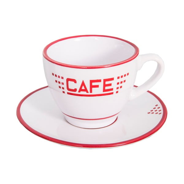Biała ceramiczna filiżanka ze spodkiem Antic Line Café