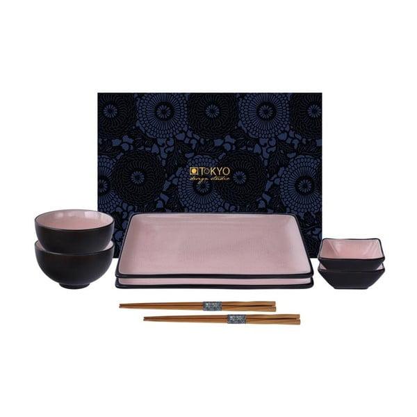 Růžový set na sushi Tokyo Design Studio Glassy