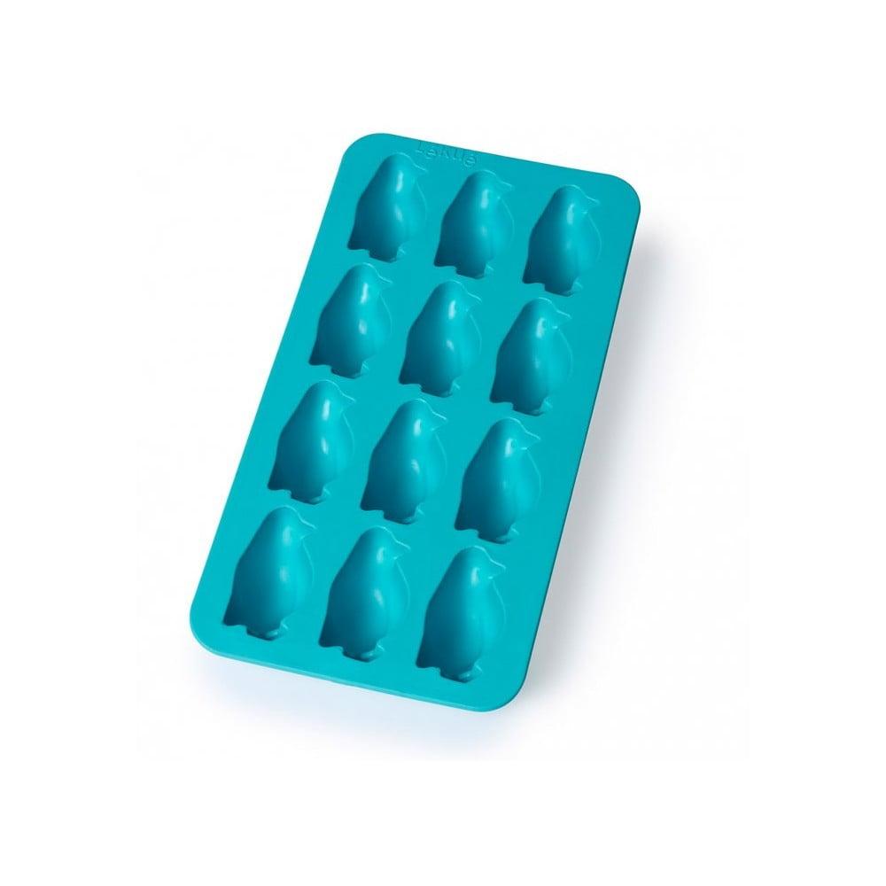 Modrá silikonová forma na led Lékué Penguin, 12 kostek