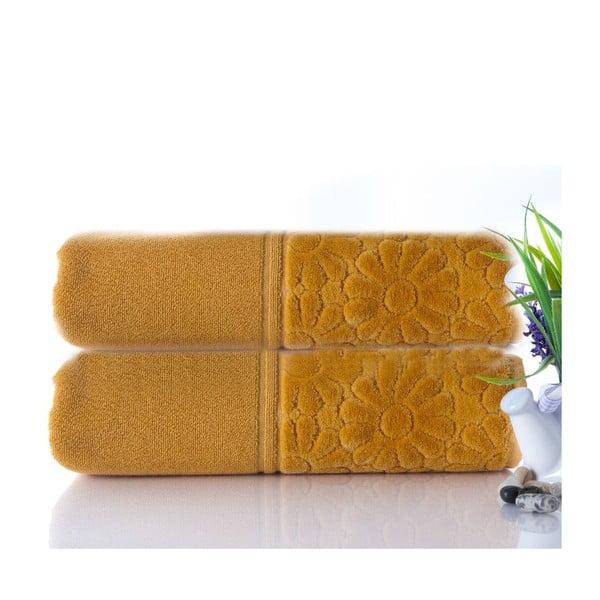 Sada 2 ručníků Samba Mustard, 50x90 cm