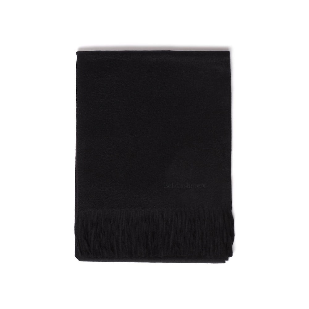 Černá kašmírová šála Bel cashmere Lea, 200 x 70 cm