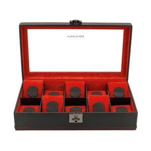 Černo-červený box na 10 hodinek Friedrich Lederwaren Carbon