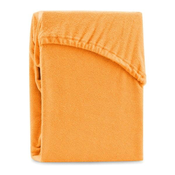 Oranžové elastické prostěradlo na dvoulůžko AmeliaHome Ruby Orange, 180-200 x 200 cm