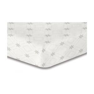 Bílé elastické prostěradlo se vzorem DecoKing Hypnosis Snowynight, 120x200cm