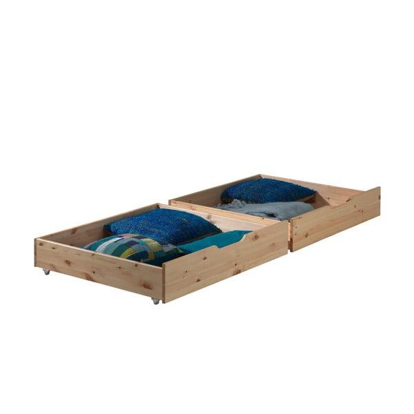 Sada 2 přírodních úložných boxů pod postel Vipack Pino
