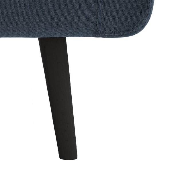 Světle modrá trojmístná pohovka Vivonita Sondero, pravá strana a černé nohy