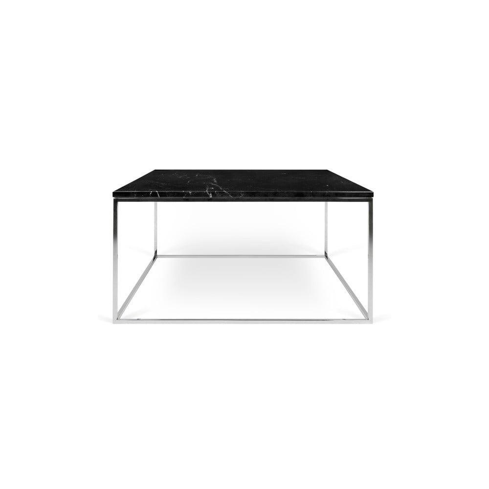 Černý mramorový konferenční stolek s chromovými nohami TemaHome Gleam, délka75 cm