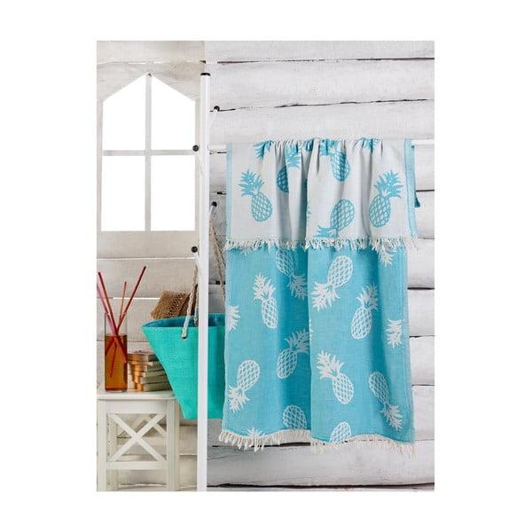 Modrý ručník Ananas, 180 x 100 cm