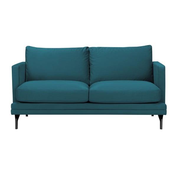 Tyrkysová dvoumístná pohovka s podnožím v černé barvě Windsor & Co Sofas Jupiter