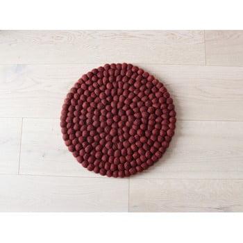Pernă cu bile din lână, pentru copii Wooldot Ball Chair Pad, ⌀ 30 cm, vișiniu închis