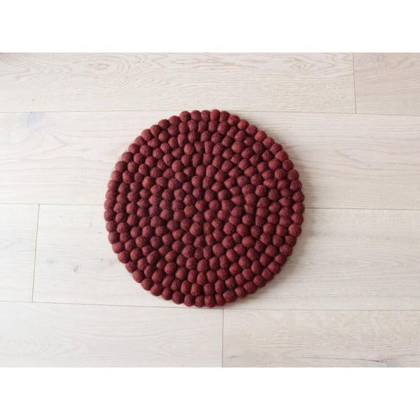 Ball Chair Pad sötét cseresznyeszínű golyós, gyapjú, gyerek székpárna, ⌀ 30 cm - Wooldot